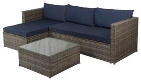 Loungebank Miko donkergrijs tuin, loungeset buiten wicker