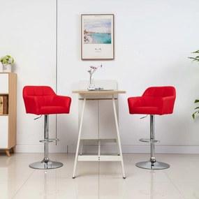Barstoelen 2 st met armleuning kunstleer rood