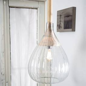 Dutchbone Drop Glass Hanglamp Ribbelglas En Hout