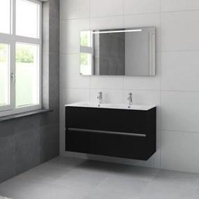 Bruynzeel Miko badmeubelset 121x66x51cm met spiegel dubbele kom zijde zwart 226503k
