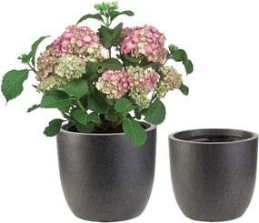 Plantenpottenset Antraciet rond