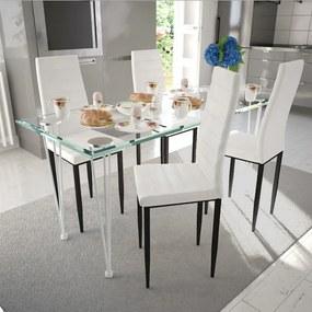Eetkamerset 4 witte slim line stoelen en 1 glazen tafel