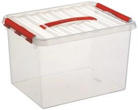 Q-line Opbergbox 22L - transparant/rood
