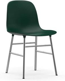 Normann Copenhagen Form Chair Stoel Met Verchroomd Onderstel Groen