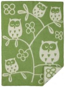 Wiegdeken wol groen uilen
