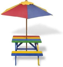Kindertuintafel Kindertafel met Parasol Kinderpicknicktafel en banken met parasol in vier kleuren 75 x 85 x 52 cm