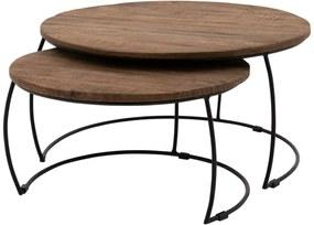 Goossens Salontafel Forta rond, hout mango bruin, stijlvol landelijk, 75 x 40 x 75 cm