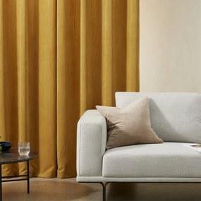 Selky set van gordijnen van ribfluweel met ogen, 140 x 260cm, mosterdgeel Yellow