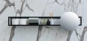 UFO spiegel rond met frame incl. onderplaat en spiegelbevestigingen - Mat zwart 480xmm (bxd)