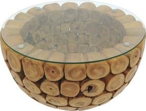 BRANCH 70 cm | Teak Bowl Salontafel met glas | Rond | 70 x 45 cm