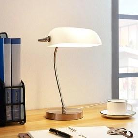 Bankierslamp met witte glazen kap - lampen-24