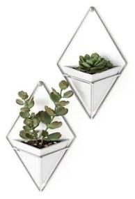 Umbra Trigg plantenhouder 6x11x19cm 2 stuks hangend keramiek wit/nikkel 470753-670