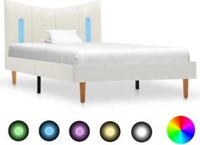 Bedframe met LED kunstleer wit 90x200 cm