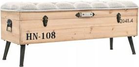 Opslagbank 120x40x50 cm massief hout en MDF