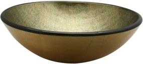 Saniclass Limone waskom 42x14,5cm rond gehard glas goud groen GS-H9368