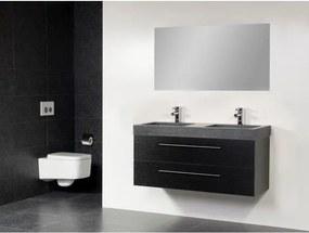 Saniclass Exclusive line Grey Stone 120 badmeubel black wood 2 laden 2 kraangaten met spiegel SW21684