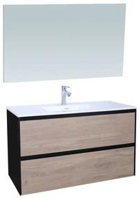 Adema Industrial Badmeubelset 100x45.5x58cm met overloop inclusief spiegel zonder verlichting hout/zwart Industrial-100