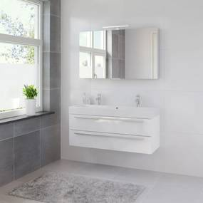 Bando badmeubelset 120 cm | spiegelkast | aluminium greeplijst- glans wit