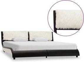 Bedframe kunstleer zwart en wit 160x200 cm