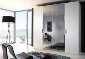 Goossens Kledingkast 20up Model 1a Draaideurkast, Slaapkamerkast 200 cm breed, 223 cm hoog, 2x draaideur en  2x 2 paneel spiegel draaideuren midden