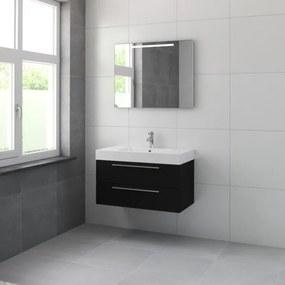 Bruynzeel Bando badmeubelset 90x55x45cm met spiegel aluminium greeplijst zijde zwart 616623k
