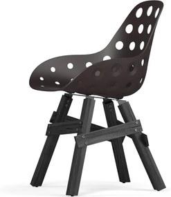 Icon stoel - Dimple Holes - Donkerbruin - Zwart onderstel