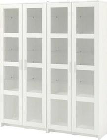 BRIMNES Opbergcombinatie met glazen deuren 160x35x190 cm wit