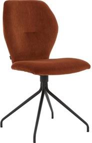 Goossens Eetkamerstoel Hera Ronde Poot oranje stof , modern design