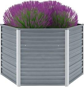 Plantenbak verhoogd 129x129x77 cm gegalvaniseerd staal grijs