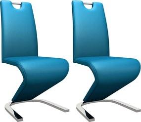 Eetkamerstoelen met zigzag-vorm 2 st kunstleer blauw