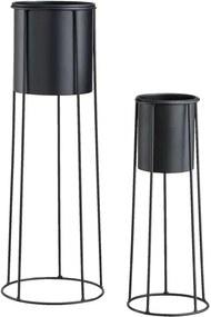 Bloempot Laurens (set van 2) - zwart - 65xØ20 en 45xØ13 cm - Leen Bakker