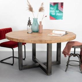 SoHome Ronde Eettafel Sigurd mango en staal, 130 cm