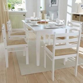 Eetkamerstoelen 6 st massief hout en fluweel wit