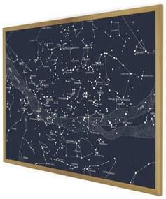 Suri grote ingelijste print, marmer en goudfolie, 70 x 100, ingelijste print, donkerblauw en goud