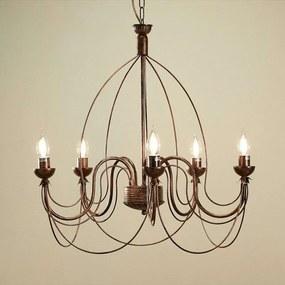 Metalen kroonluchter Thida, antiek goud, 5 lampen