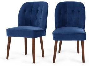 Margot set van 2 eetkamerstoelen, elektrischblauw fluweel