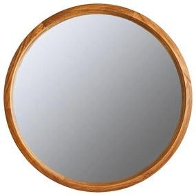 Spiegel rond met houten lijst - bruin - ø76 cm