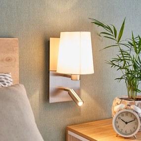 Wandlamp Aiden met LED leeslamp, wit, nikkel - lampen-24