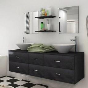 Badkamermeubelset met wasbak zwart 7-delig