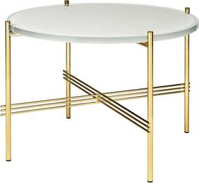 Gubi TS Table Glass Bijzettafel Brass 55cm Oyster White