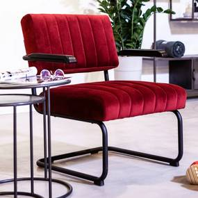 By-Boo Operator Fluwelen Retro Fauteuil Rood