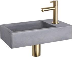 Fonteinset Differnz Force Rechthoek 40x22x8cm Beton Donkergrijs Recht Toiletkraan Clickwaste Sifon Geborsteld Goud