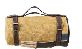 Picknickkleed wol: geel, visgraat Zonder band