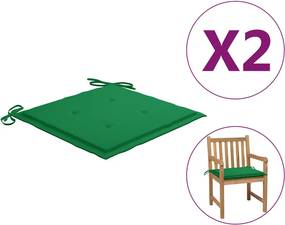 Tuinstoelkussens 2 st 50x50x3 cm groen