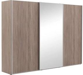 Goossens Kledingkast Verto, 300 cm breed, 217 cm hoog, 2x schuifdeur en 1x spiegelschuifdeur midden