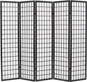 Kamerscherm inklapbaar Japanse stijl 200x170 cm zwart