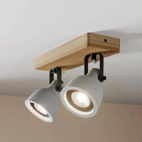 Mirka LED plafondlamp, dennenhout, 2-lamps - lampen-24