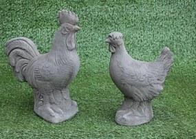 Tuinbeeld kip en haan set - decoratie voor binnen/buiten - beton - set kip en haan