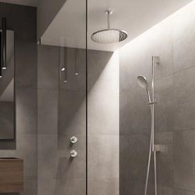 Cobber IBS 21 inbouw doucheset - geborsteld nikkel - met ronde 3 standen handdouche - 30cm hoofddouche - met plafondbuis 30cm - glijstang met uitlaat