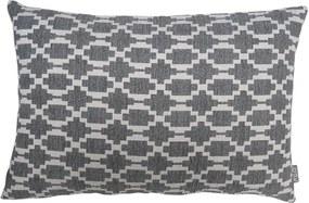 Kussen grijs patroon, langwerpig, Lindy Met binnenkussen 50 x 35 cm